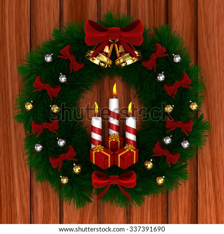 3D Render: Christmas wreath with red bow, Burning candles, jingle bells and gifts isolated on wood background - stock photo