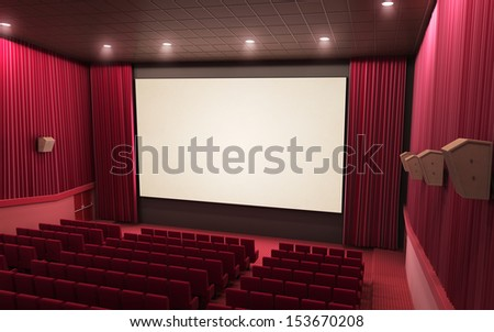 3d render cinema stage (sound system, spectacular lighting, upholstered in red fabric)  - stock photo