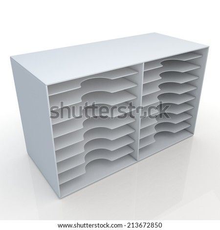 3D render clean white Multideck papers sheets , document rack shelves in isolated background with work paths, clipping paths included