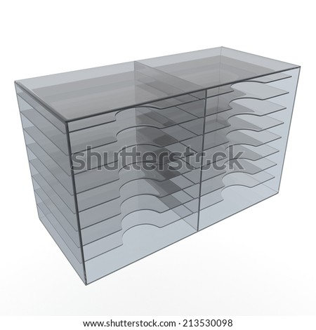 3D render clear acrylic rack shelves in isolated background with work paths, clipping paths included