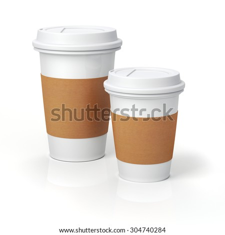 3d render- coffee cups on white background - stock photo