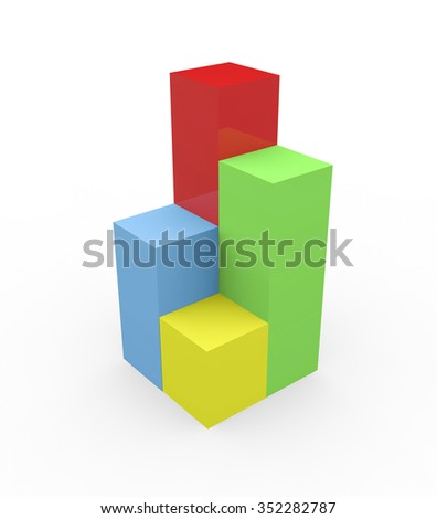 3d render colorful bars diagram concept of business success.