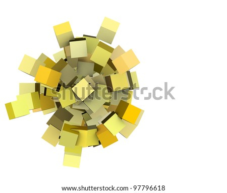 3d render concentric cubes in multiple yellow on white - stock photo