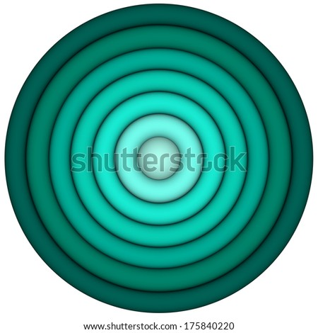 3d render concentric pipes in multiple blue green - stock photo
