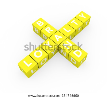3d render concept Brand Loyalty with sixteen crossword yellow cubes on a white background.  - stock photo