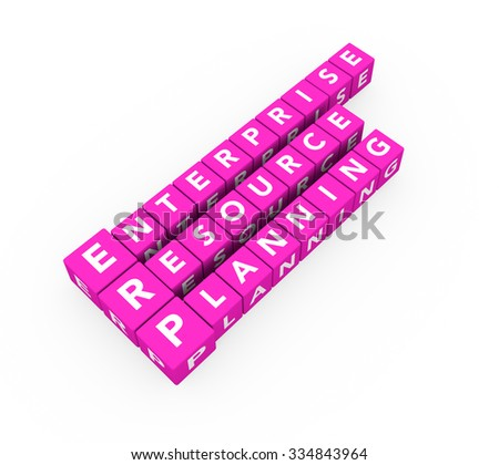 3d render concept ERP Enterprise Resource Planning with pink cubes on a white background.