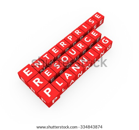 3d render concept ERP Enterprise Resource Planning with red cubes on a white background.  - stock photo