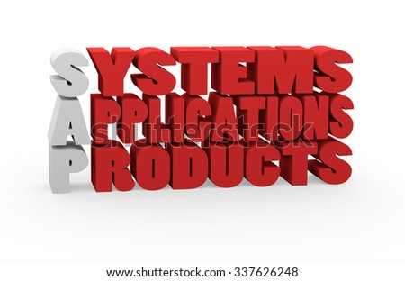 3d render concept SAP Systems Applications Products with red cubes letters on a white background.  - stock photo