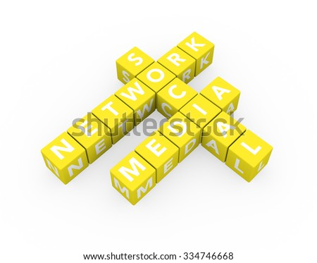 3d render concept Social Media Network with sixteen crossword yellow cubes on a white background.  - stock photo