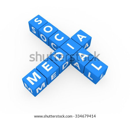 3d render concept Social Media with ten crossword blue cubes on a white background.  - stock photo