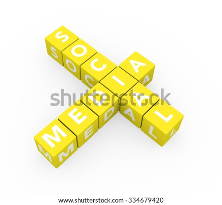 3d render concept Social Media with ten crossword yellow cubes on a white background.  - stock photo