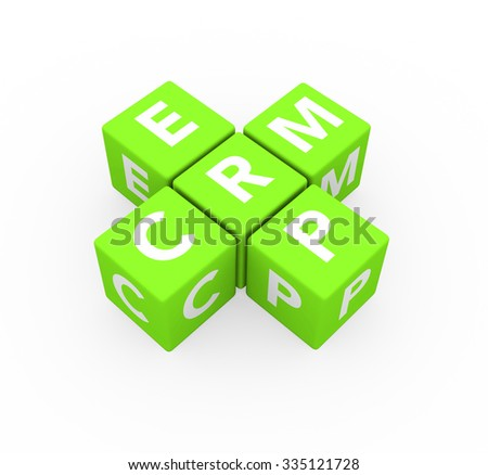 3d render concepts ERP Enterprise Resource Planning and CRM Customer Relationship Management with green cubes on a white background.  - stock photo