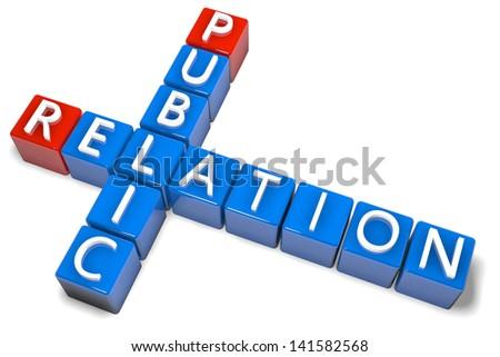 3D Render Crossword concept: Public Relation - stock photo