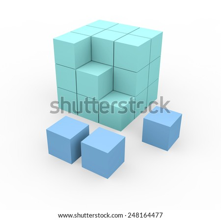 3d render cube construction with green and blue blocks on a white background.