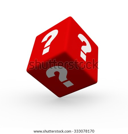 3d render cube with question marks on a white background.