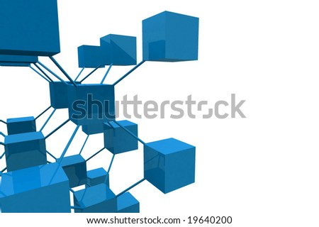 3D Render Cubes With Connections
