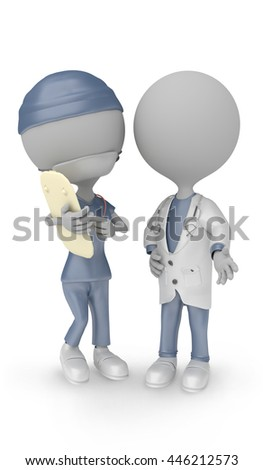 3D render - 3D illustration doctor and nurse discuss