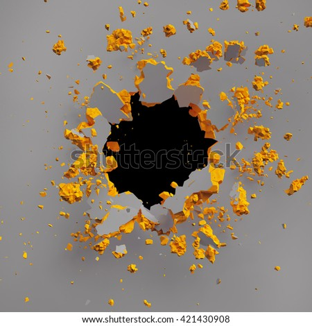 3d render, 3d illustration, explosion, colorful wall, bullet hole, destruction, abstract background - stock photo