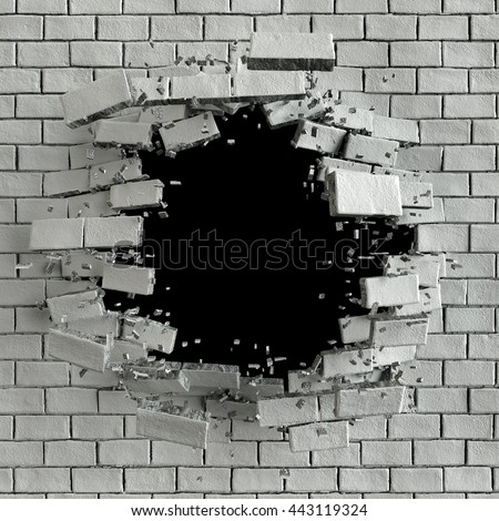 3d render, 3d illustration, explosion, cracked brick wall, bullet hole, destruction, abstract background - stock photo