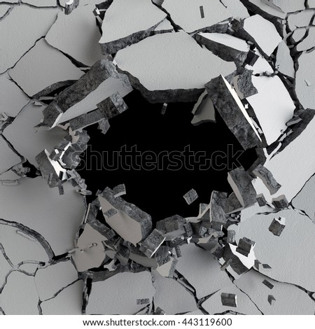 3d render, 3d illustration, explosion, cracked concrete wall, bullet hole, destruction, abstract background - stock photo