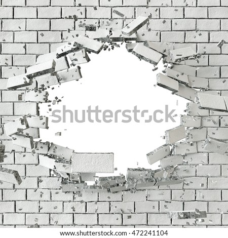 3d render, digital illustration, abstract broken white brick wall background, hole isolated