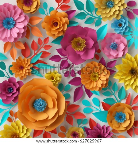 3d Render Digital Illustration Colorful Paper Flowers Wallpaper Spring Summer Background Floral