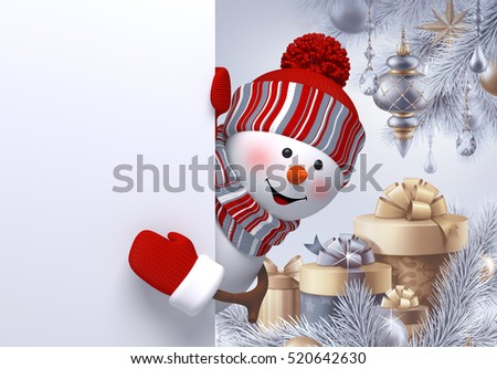 3d render, digital illustration, curious snowman looking out, holding blank banner, silver Christmas holiday background, gift boxes, Happy New Year greeting card template