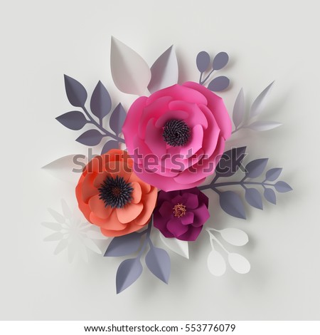 3 d render digital illustration red pink stock illustration 3d render digital illustration red pink paper flowers floral background wedding card mightylinksfo
