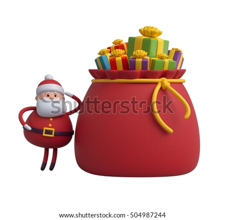 3d render, digital illustration, Santa Claus cartoon character, gift boxes, bag, Christmas toy isolated on white background