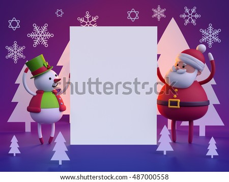 3d render, digital illustration, snowman and santa claus holding blank page, white paper cut shapes, festive greeting card, Christmas night background