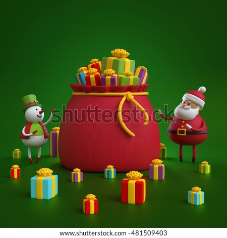 3d render, digital illustration, snowman and santa claus opening bag with gift boxes, Christmas holiday background
