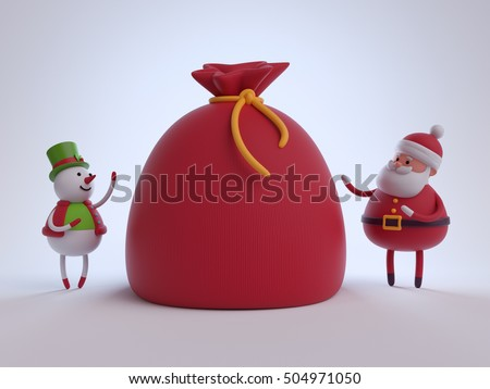 3d render, digital illustration, snowman and Santa Claus toys, cartoon, gifts bag, festive greeting card, white Christmas background, winter holiday scene