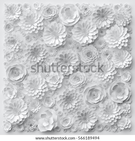 cool designs black and white on paper. 3d render digital illustration white paper flowers decorative floral background wedding wall cool designs black and on
