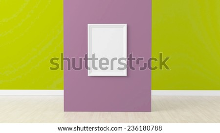 3d render, empty frame at center of purple wall - stock photo