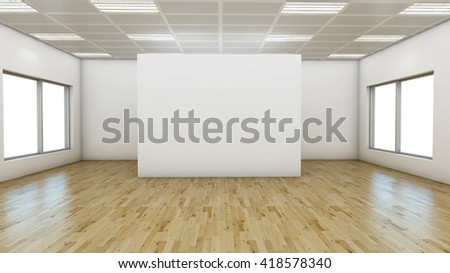 3D render Empty  room with laminate flooring  and white wall - stock photo