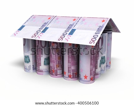 3d render 500 euro roll banknotes house shaped (isolated on white and clipping path) - stock photo