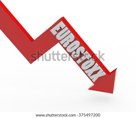 3d render Eurostoxx stock market index in a red arrow on a white background.  - stock photo
