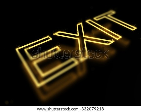 3d render exit neon sign isolated on black background - stock photo