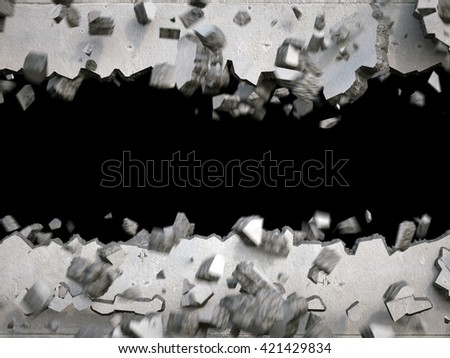 3d render, explosion, broken concrete wall, destruction, abstract background - stock photo