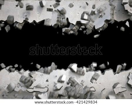 3d render, explosion, broken concrete wall, destruction, abstract background - stock photo