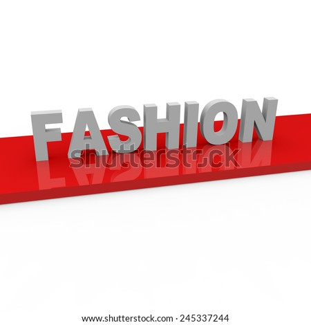 3d render Fashion concept with fashion words on red runway on a white background.  - stock photo
