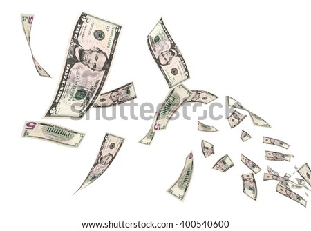 3D render Fly Five dollar banknotes close-up (isolated and clipping path) - stock photo