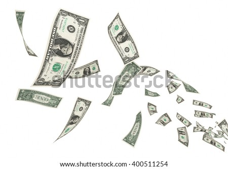 3D render Fly One dollar banknotes close-up (isolated and clipping path) - stock photo