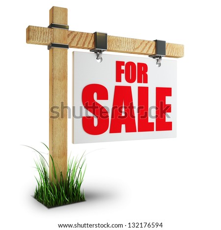 3d render For sale sign Isolated on white background High resolution - stock photo