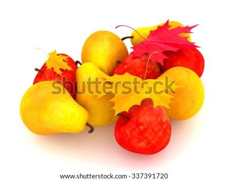 3D Render: Fresh pears and apples, with red and yellow autumn leaves on a white background - stock photo