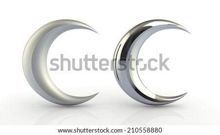 3D render glossiness and reflection suspended white golden Moon in isolated background with work paths, clipping paths included - stock photo