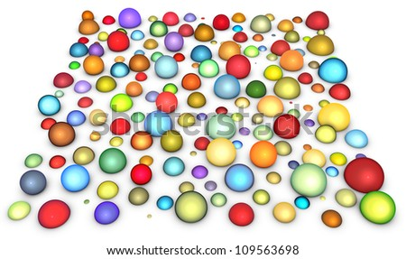 3d render glossy multi colored bubble - stock photo