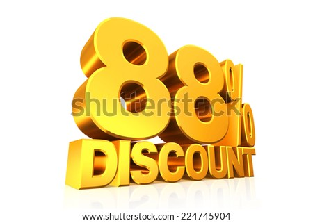3D render gold text 88 percent discount on white background with reflection.
