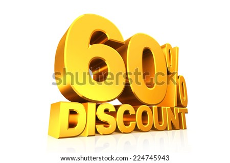 3D render gold text 60 percent discount on white background with reflection.