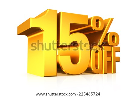 3D render gold text 15 percent off on white background with reflection. - stock photo